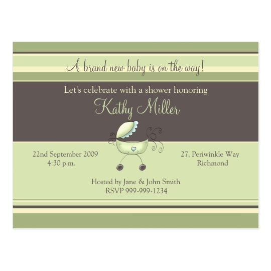 Stripes & Stroller Green • Baby Shower Invitation Postcard