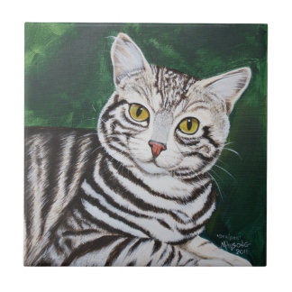 Stripes, Tabby Cat Small Square Tile