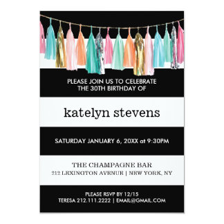 Stripes Tassel Garland Birthday Party Invitation