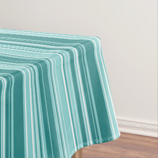 Stripes - Teal Green Blue Tablecloth