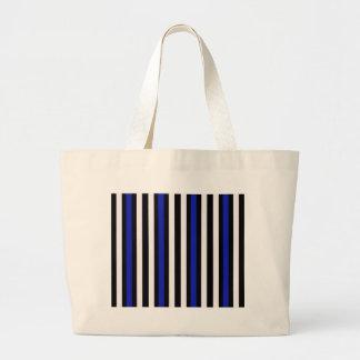 Stripes Vertical Blue Black White Large Tote Bag