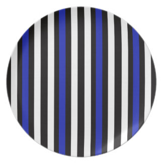 Stripes Vertical Blue Black White Plate