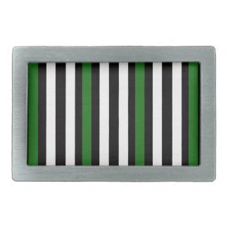 Stripes Vertical Green Black White Belt Buckle