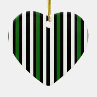 Stripes Vertical Green Black White Ceramic Ornament
