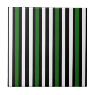 Stripes Vertical Green Black White Ceramic Tile