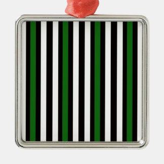 Stripes Vertical Green Black White Metal Ornament