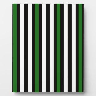 Stripes Vertical Green Black White Plaque