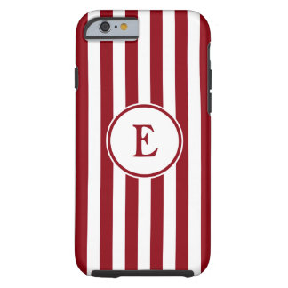 Stripes vertical nautical monogram red white tough iPhone 6 case