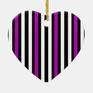 Stripes Vertical Purple Black White Ceramic Ornament