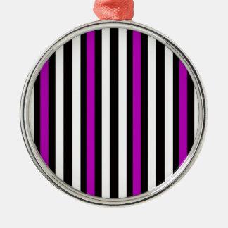 Stripes Vertical Purple Black White Metal Ornament