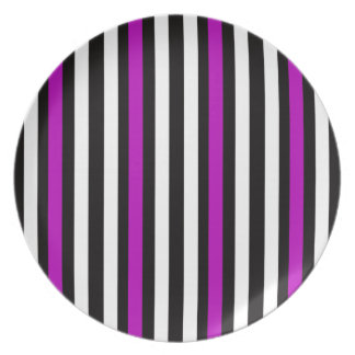 Stripes Vertical Purple Black White Plate