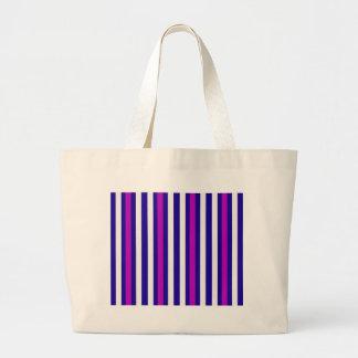 Stripes Vertical Purple Blue White Large Tote Bag