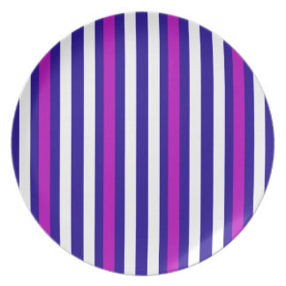 Stripes Vertical Purple Blue White Plate