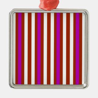 Stripes Vertical Purple Red White Metal Ornament
