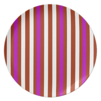 Stripes Vertical Purple Red White Plate