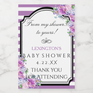 Stripes Watercolor Floral Baby Shower Product or Food Label
