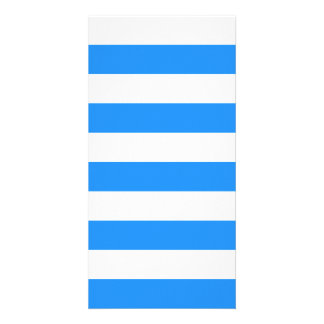 Stripes - White and Blue Customized Photo Card