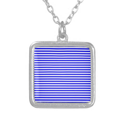 Stripes - White and Blue Personalized Necklace