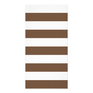 Stripes - White and Coffee Personalised Photo Card