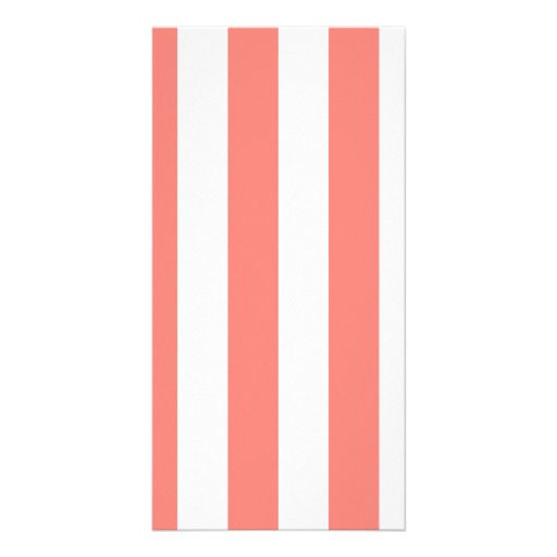 Stripes - White and Coral Pink Picture Card