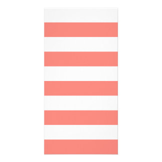 Stripes - White and Coral Pink Photo Card