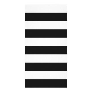 Stripes - White and Dark Gray Photo Cards