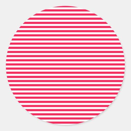 Stripes - White and Electric Crimson Round Sticker