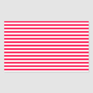 Stripes - White and Electric Crimson Rectangular Stickers