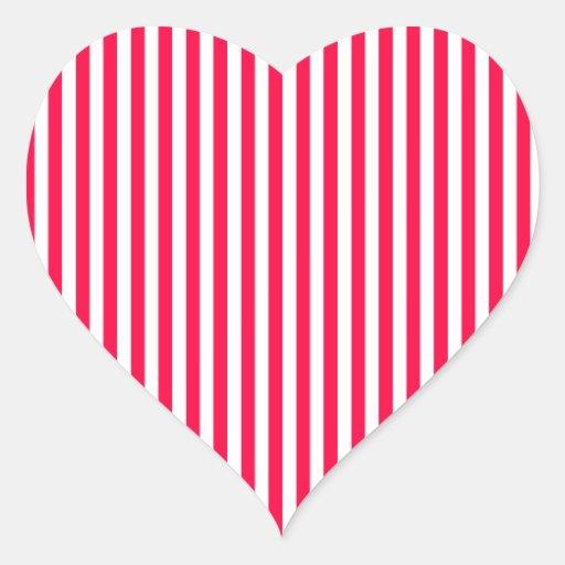 Stripes - White and Electric Crimson Stickers