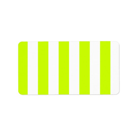 Stripes - White and Fluorescent Yellow Address Label