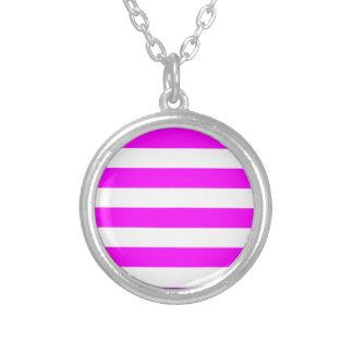 Stripes - White and Fuchsia Necklace