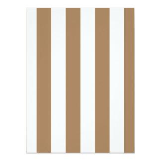 Stripes - White and Pale Brown 17 Cm X 22 Cm Invitation Card