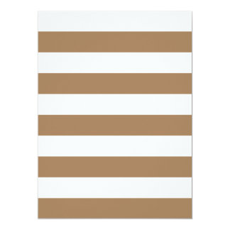 "Stripes - White and Pale Brown 6.5"" X 8.75"" Invitation Card"