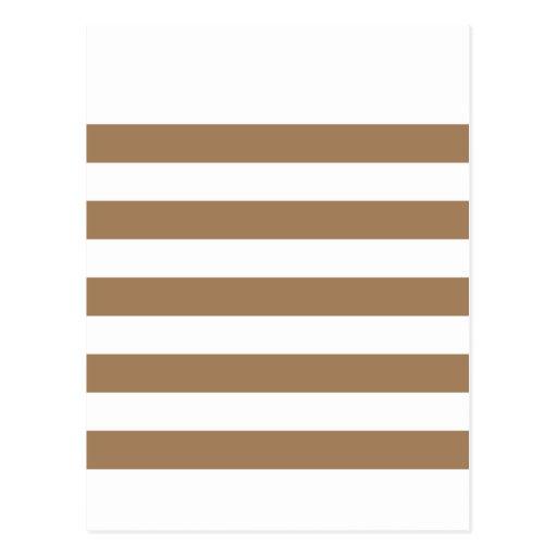 Stripes - White and Pale Brown Postcard