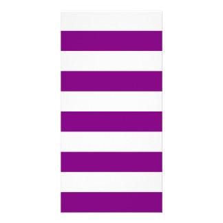 Stripes - White and Purple Custom Photo Card