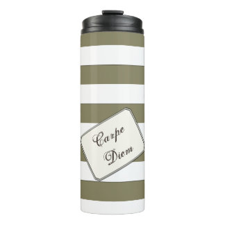 Stripes White on any Colour any Text Thermal Tumbler