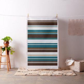 Stripey Design Brown Teals Cream & Gold Fabric