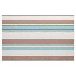 Stripey Design Browns Blue Cream & White Fabric