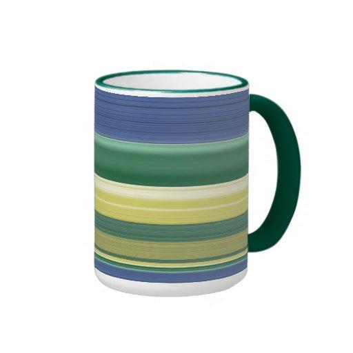 Stripped Blue,Green,Pale Yellow Mug