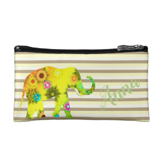 Strips, Funny, Flower, Elephant, Personalized Cosmetic Bag