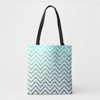 Stripy Chevron - Cyan Tote Bag