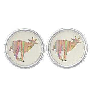 Stripy Colourful Funny Goat Art Animal Design Cuff Links