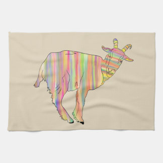Stripy colourful Funny Goat Art Animal Design Tea Towel
