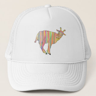 Stripy colourful Funny Goat Art Animal Design Trucker Hat