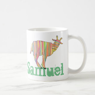 Stripy Colourful Goat Art Design Add Your Name Coffee Mug