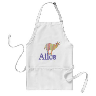 Stripy Colourful Goat Art Design with Your Name Standard Apron