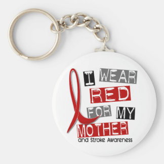 Stroke I WEAR RED FOR MY MOTHER 37 Basic Round Button Key Ring