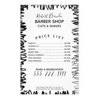 Stroke Line Border Black & White Barber Price List Flyer