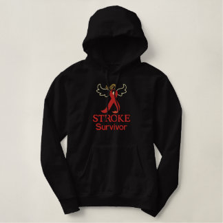 Stroke Survivor Ribbon angel embroidered Embroidered Hoodie