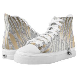 Strokes Silver Gray Diamond Sequin Gold Zebra Skin High Tops